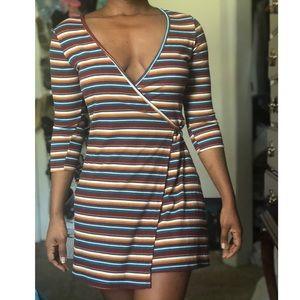 F21 Striped Wrap Dress